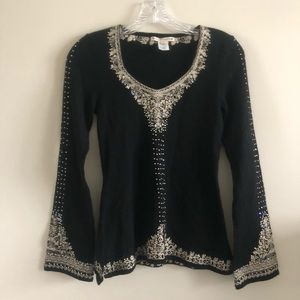Nanette Lepore Womens Wool Cardigan, XS, Black,